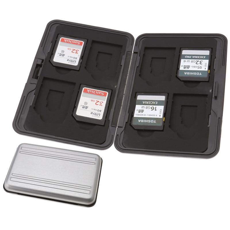 8 X Sd Micro Tarjeta De Memoria De Almacenamiento Caja De Transporte Duro Caja Negra De Aluminio Negro Tarjetas De Memoria Paquete Elegante Y Robusto