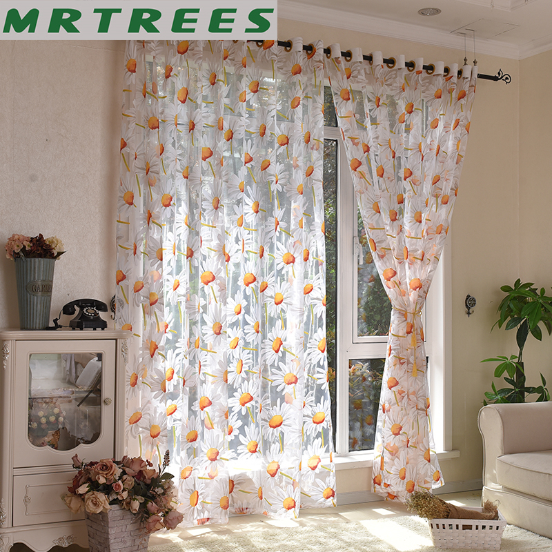 Modern Printed Sheer Flower Curtains For Bedroom Living Room Kitchen Tulle Sheer Decorative Curtains To The Window Door Curtain