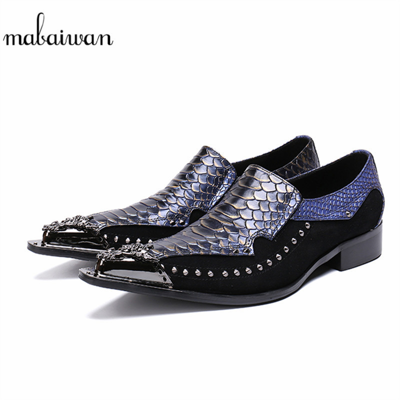 Mabaiwan Casual Men Shoes Leather Mixed Colors Rivets Slipper Dress Shoes Men Metal Pointed Toe Slip On Handmade Evening Flats sexy pointed toe slip on women slippers 2017 handmade embroidery leather flats dress shoes woman gladiator tassel casual shoes