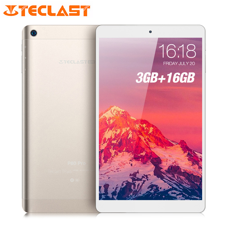 "Teclast P80 Pro Tablet PC 8.0"" HD Android 7.0 Upgraded 3GB RAM 16GB eMMC ROM MTK8163 Quad Core Double Cams Dual WiFi HDMI GPS"