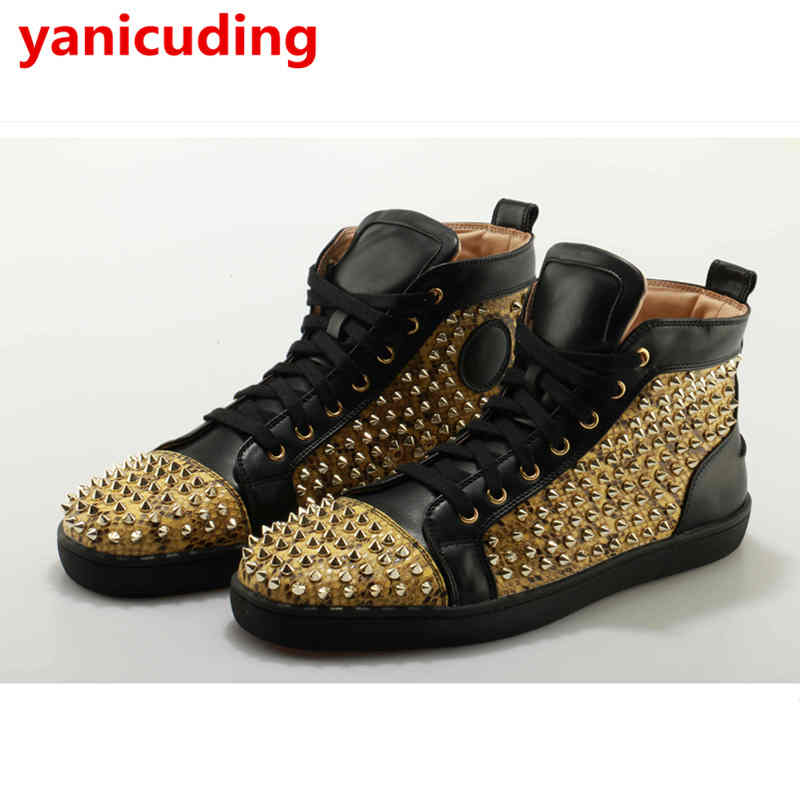 High Top Front Lace Up Men Casual Shoes Rivets Embellished Brand Design Star Runway Shoes Men Flats Big Size Hommes Chaussures