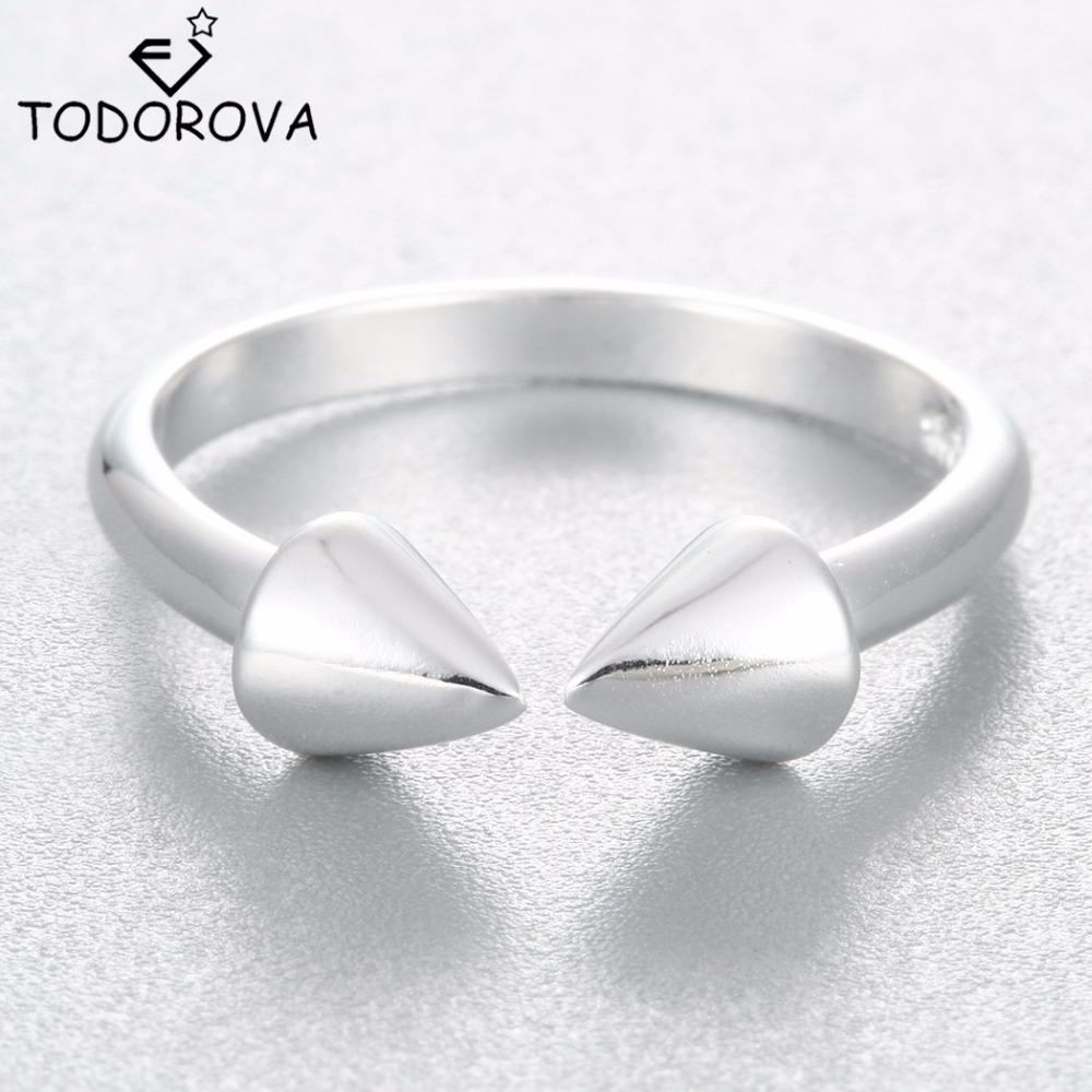Todorova Simple Smooth Tapered Open 925 Sterling Silver Rings For Women  Fashion Adjustable Ring Hypoallergenic Jewelry
