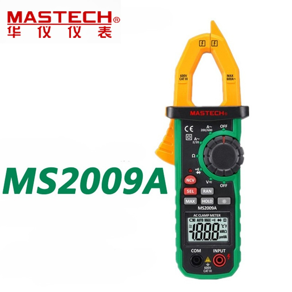 1 pcs MASTECH New 600A Digital Clamp Meter with Non-contact Voltage Detector MS2009A FREE SHIPPING