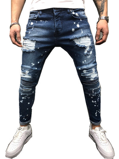 UUYUK Men Ripped Destroyed Holes Slim Stretchy Denim Pencil Jeans