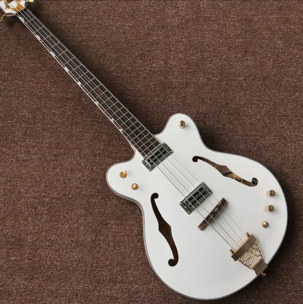 Nouveau standard personnalisé, F creux corps Jazz guitare électrique basse, travail manuel 4 Cordes blanc gitaar, personnalisé guitarra