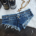 Fashion Women Short Jeans Girl Sexy Denim Thong Shorts Sexy Sequined Night Club Party Booty Shorts Jeans De Cintura Alta 607