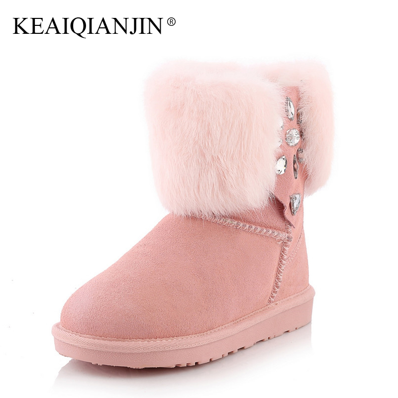KEAIQIANJIN Woman Crystal Snow Boots Winter Fashion Black Grey Ankle Boots Genuine Leather Platform Studded Snow Boots 2017 keaiqianjin woman studded snow boots pink black winter genuine leather flat shoes flower platform fur crystal ankle boot 2017