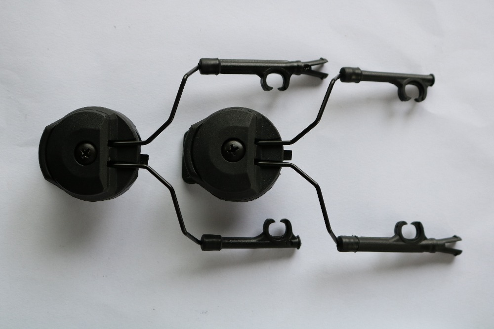 Military Tactical Peltor Helmet Adapter Set Headset Holder And Fast Ops Core Helmet Rail Adapter Headset Accessories Bk