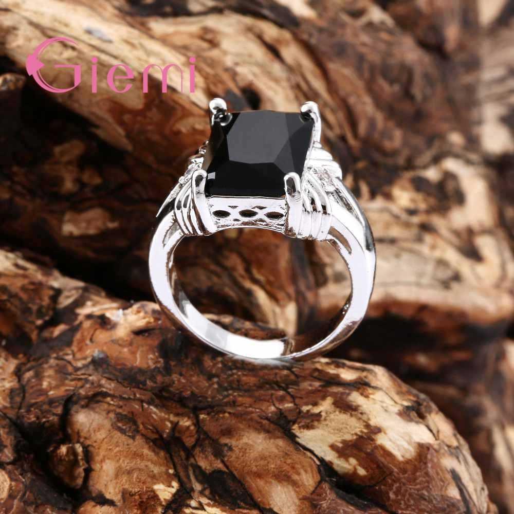 คุณภาพสูง Black Square Shape Design Cubic Zirconia Finger แหวน 925 เงินสเตอร์ลิงสำหรับผู้หญิง/Man เทศกาลของขวัญ