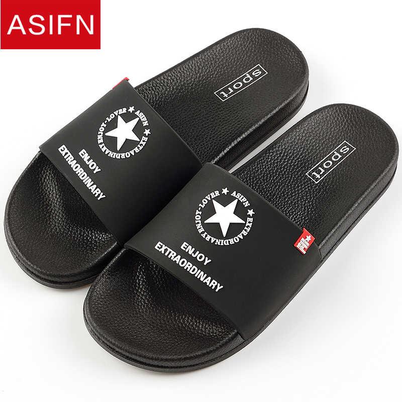 375ea9807fd59 ASIFN Men Slippers Summer Beach Non-slip Male Slides Sports Women Sandals  Soft Female Home