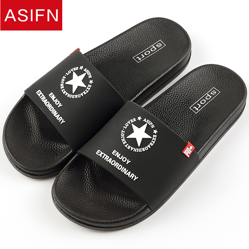 ASIFN Men Slippers Summer Beach Non-slip Male Slides Sports Women Sandals Soft Female Home Stars Flip Flops Outdoor Indoor Man