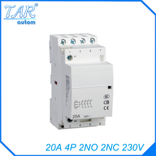 все цены на 4P 2NO 2N 230V 20A Modular Normally Closed Contactor with electric machincal types of contactor  Din rail Household ac contactor онлайн