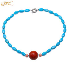 JYX Elegant Turquoise Necklace Coral 8*15mm Blue Irregular dotted a Red 25mm Round Pendant 20