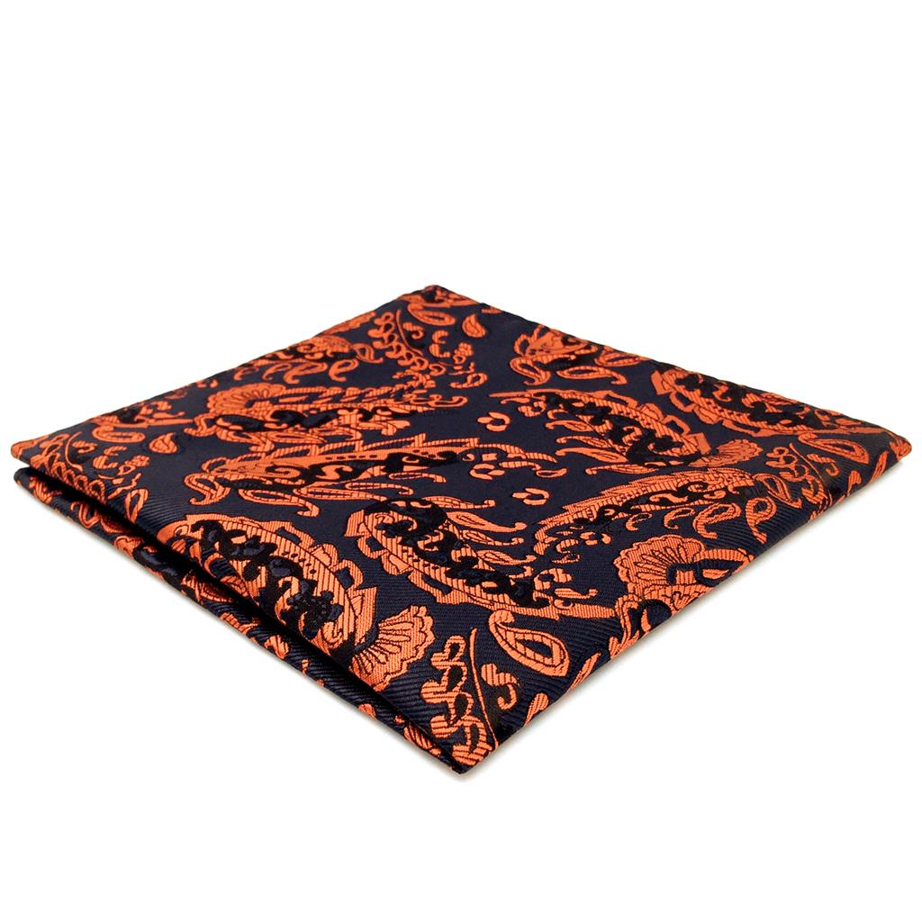FH12 Orange Blue Paisley Mens Pocket Square Wedding Handkerchief Fashion Hanky