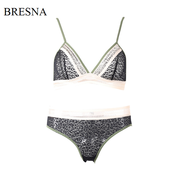 c9ee300b1cacb BRESNA Contrast Color Hollow Out Lace Transparent Bralette Bra Set Triangle  Cup Sexy Bra and panties