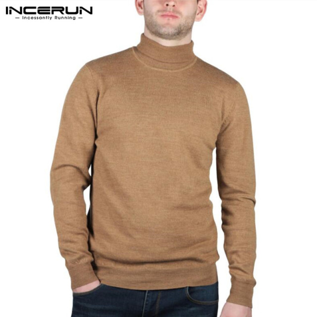 INCERUN Fashion Men's Sweater Knitted Turtleneck Long Sleeve Solid Pullovers Casual Roll Neck Fitness Sweater S-2XL 2018 Autumn