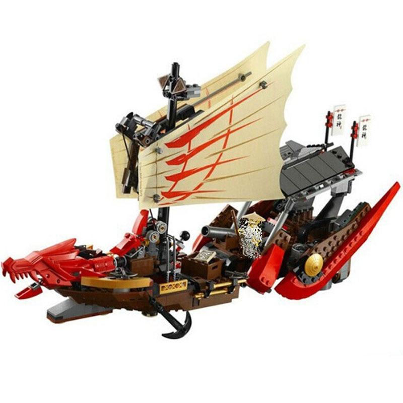 Bela 9762 680Pcs Ninja Destiny's Bounty Dragon Boat Building