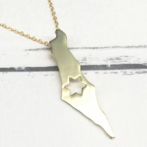 1PCS Israel map pendants State tiny metal stars charms Necklace State maps heart love necklaces women fashion jewelry girl gifts