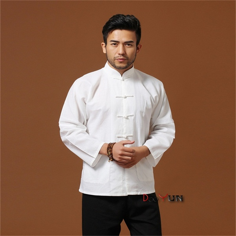 c50af53ae3 Hot Sale White Chinese Traditional Men s Mandarin Collar Solid Linen Long  Sleeve Kung-Fu Jacket Coat M L XL XXL XXXL
