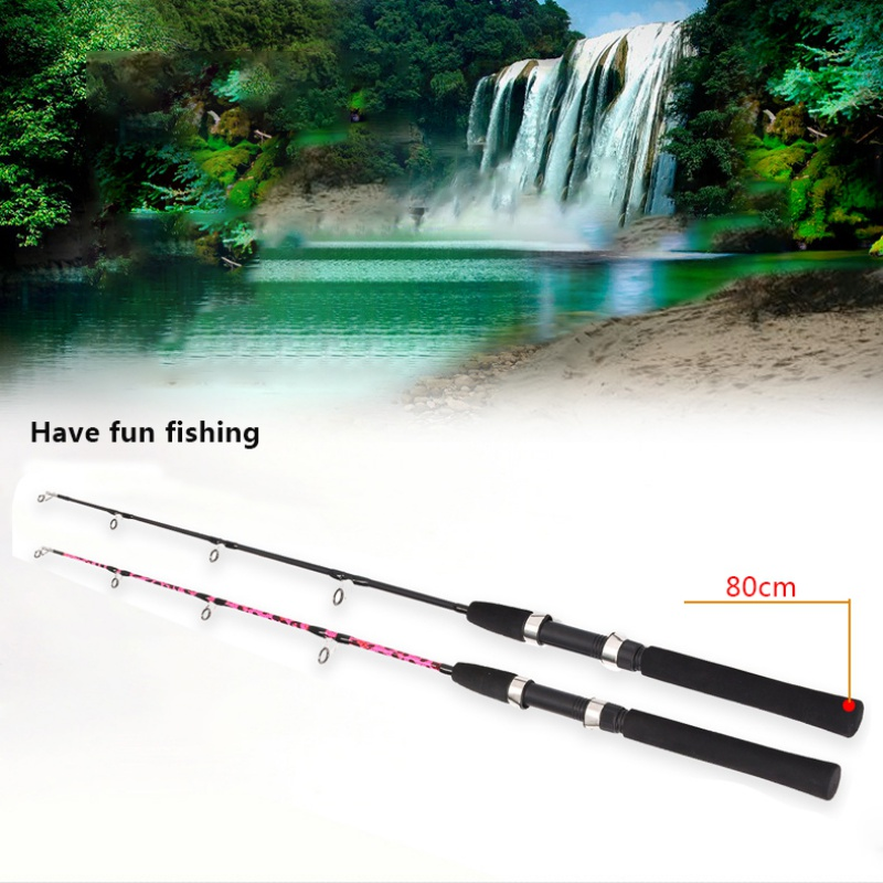 80cm Ultra-Light Mini Telescopic Ice Fishing Rod Ice Winter Foam Handle Fishing Rods(China)