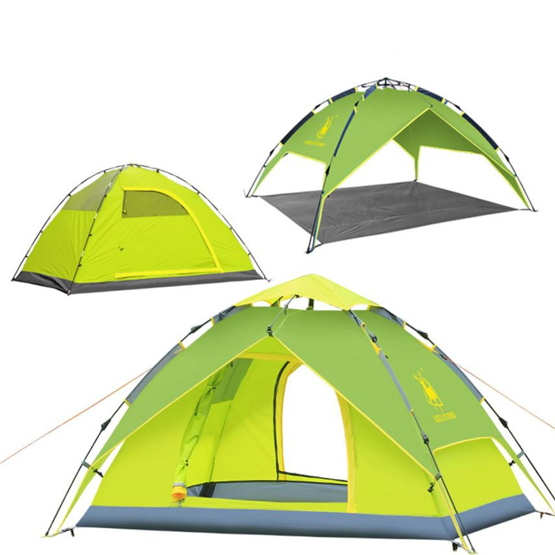 AOTU Double Layer Rain-proof Automatic Folding 3-4 Person Outdoor Hiking Camping Tent Waterproof ventilation Shading Tent C0510 rain proof double layer camping tent for outdoor activities green