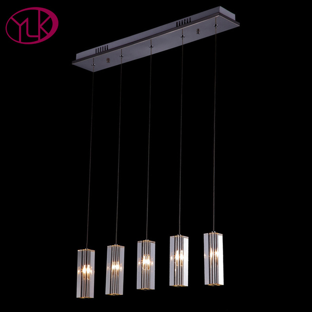 Rectangle Crystal Chandelier Lighting Modern Hanging Lights For Kitchen Dining Room Bar Fixture Led Re