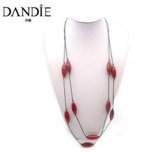 Dandie Trendy Minimalism Personality Red Glass Bead Long Necklace, Two Layer Jewelry