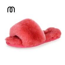 Millffy шерсти меховой домашние тапочки кондиционер номер овчины тапочки меховые тапочки главная обувь женщин