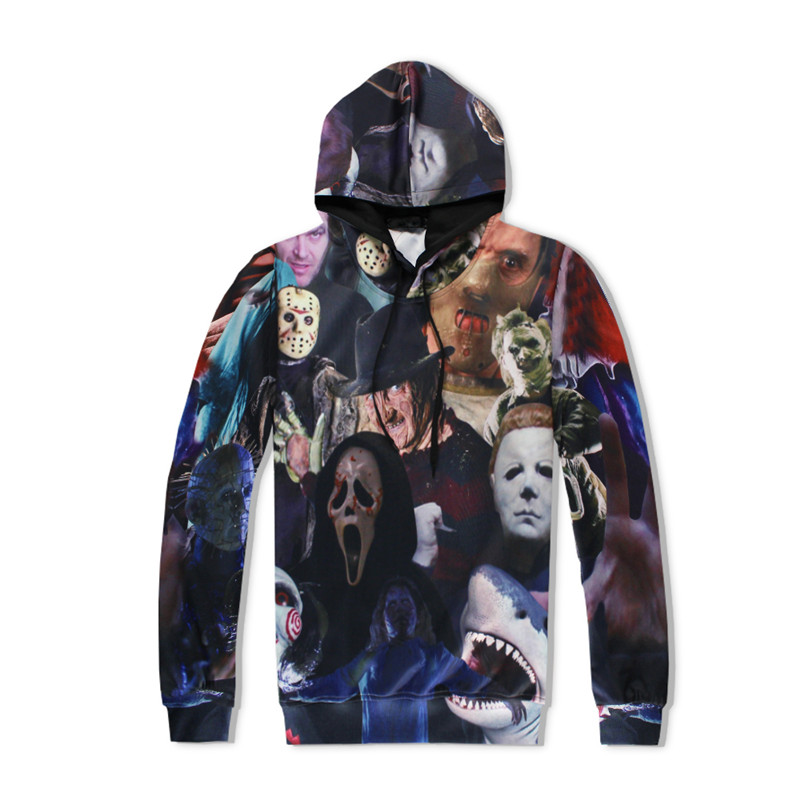 2017 Fashion Men Women 3d font b Hoodies b font Horror Movie Killers Halloween Devil Shark