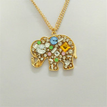 TOFOL Elephant Necklaces Small Pendant Women Crystal Hollow Long Sweater Gold Color Necklace Female Vintage Jewelry Fashion Gift