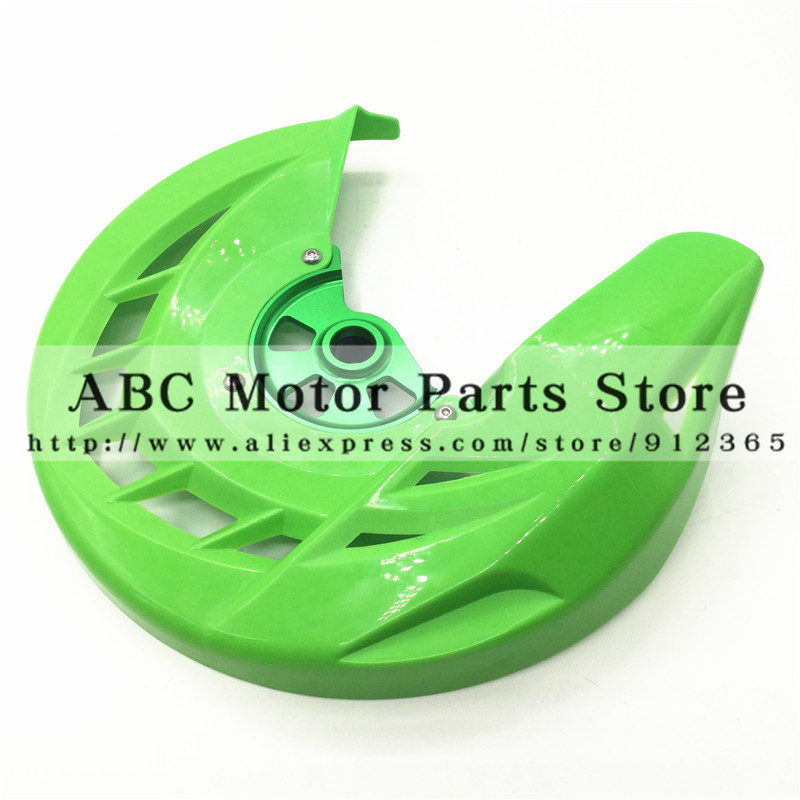 CNC Green Billet Front Brake Disc Cover Protector Plastic Rotor Guard For KAwasaki KX250F KX450F 2006 2015 DIRT BIKE