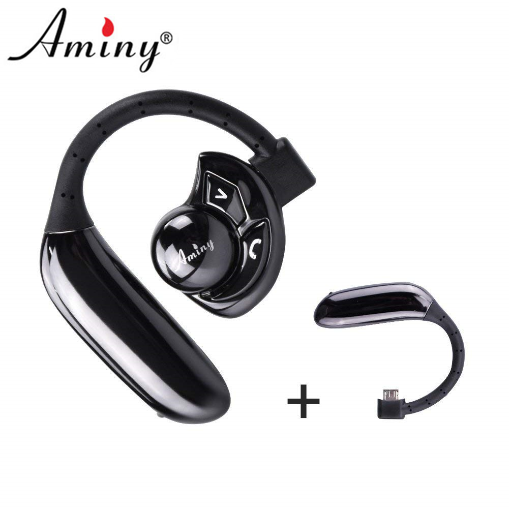 Aminy Black Headset UFO Bluetooth 4.1 Earpiece with Microphone Noise Canceling Wireless Handsfree for IPhone Android Devices New