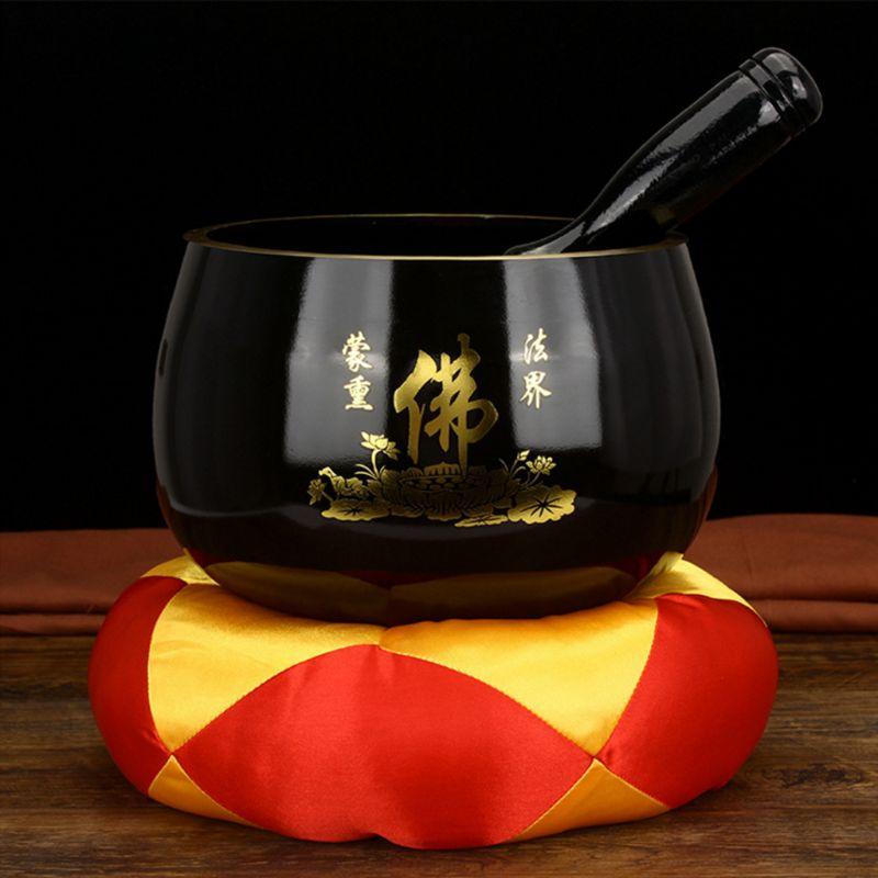 1 Set Copper Singing Bowl Chinese Style Tibetan Buddhism Singing Bowl Hand Hammered Cushion Yoga Copper Chakra Meditation Gift