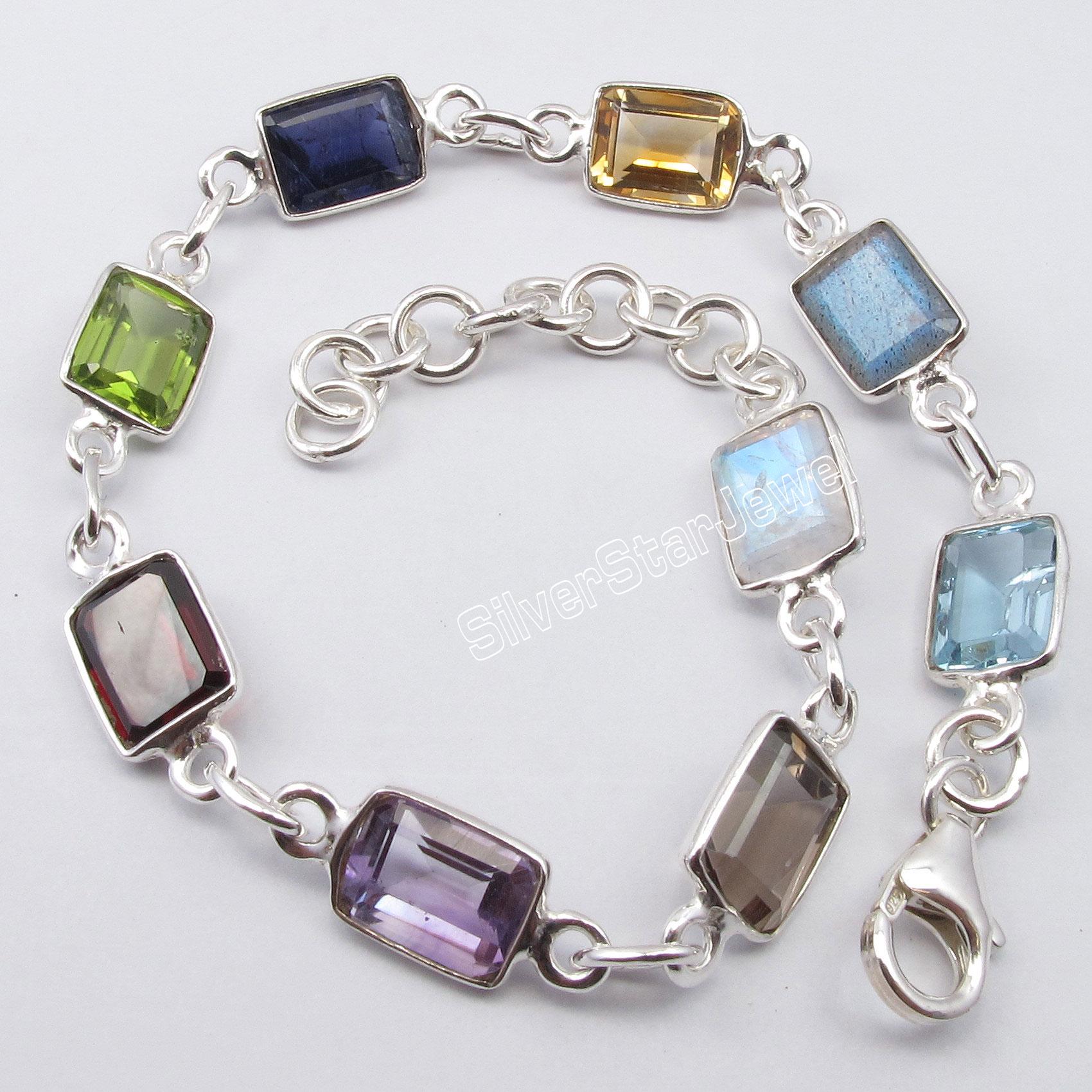 Chanti International Pure Silver COLORFUL Rectangle MULISTONE Bracelet 8 3/8 Inches JEWELRY STORE fashion plus 8 inches