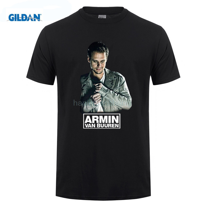 GILDAN Summer Style Cool Fashion Armin van Buuren Brand Singer men DJ shirt black print Cotton T-shirt Music fitness