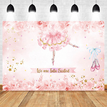 Ballet Theme Backdrop for Photography Birthday Newborn Background Flower Backdrops Shoes Costume Gold Stars