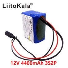 Liitokala 12 v 4.4ah 4400 mah 18650 bateria de lítio íon pcb placa protetora cctv cam monitor ues + 12.6 v 1a carregador de bateria