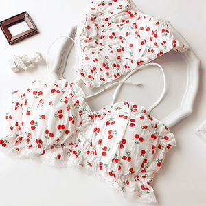 Image 5 - Wriufred Cherry Printed Cotton Girl Heart Student Bra Set Wire Free Soft Cup Underwear Big Gathered Tube Top Lingerie Sets