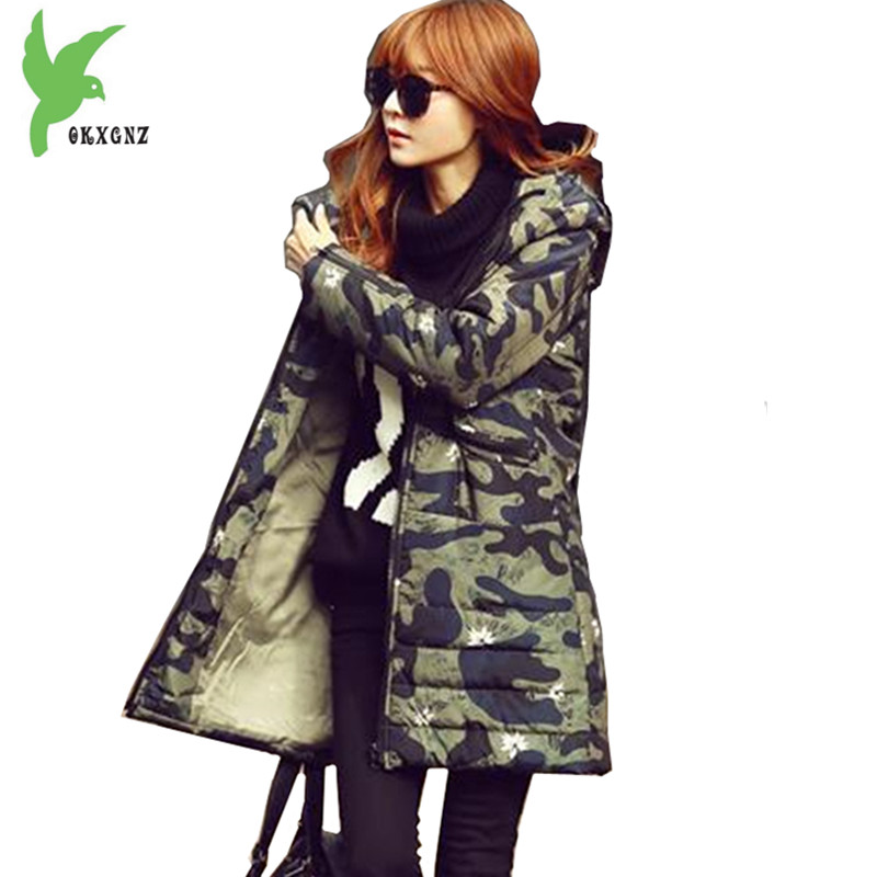 Plus Size Women Winter Jacket Camouflage Coats Down Cotton Parkas New Fashion Thick Warm Large size Female Outerwear OKXGNZ 1080 winter women denim jacket flocking coats new fashion hooded cotton parkas plus size jackets female warm casual outerwear l384