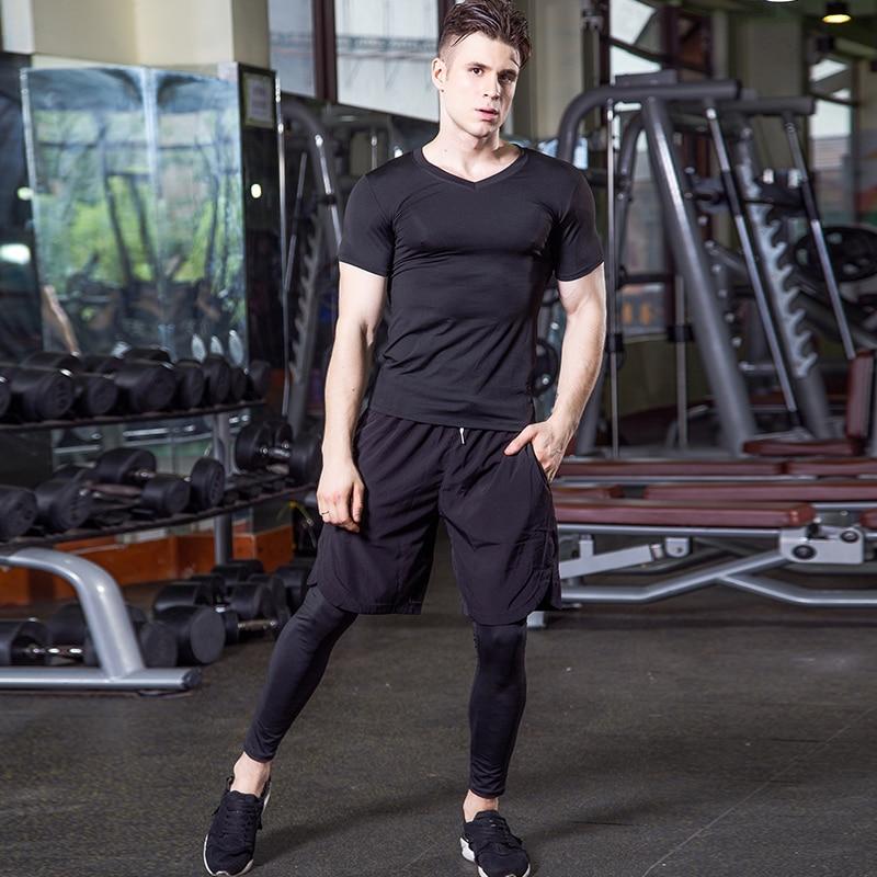 Yuerlian Hot 3 db gyors, száraz sportoló viselni valódi férfiak tracksuit kompressziós fitness harisnya V-nyakú póló tornaterem Demix sportruházat