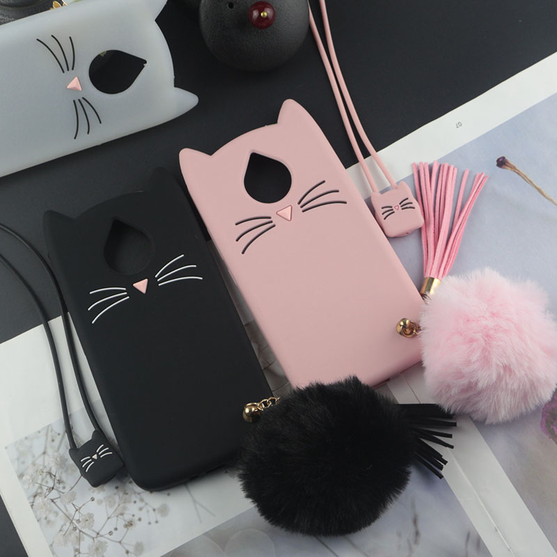 separation shoes 6f3c2 f169a US $3.32 5% OFF|Cute 3D Cartoon Silicon Case for Motorola Moto E4 Plus E4+  Cases Japan Glitter Beard Cat Lovely Ears Kitty Phone Cover-in Fitted Cases  ...