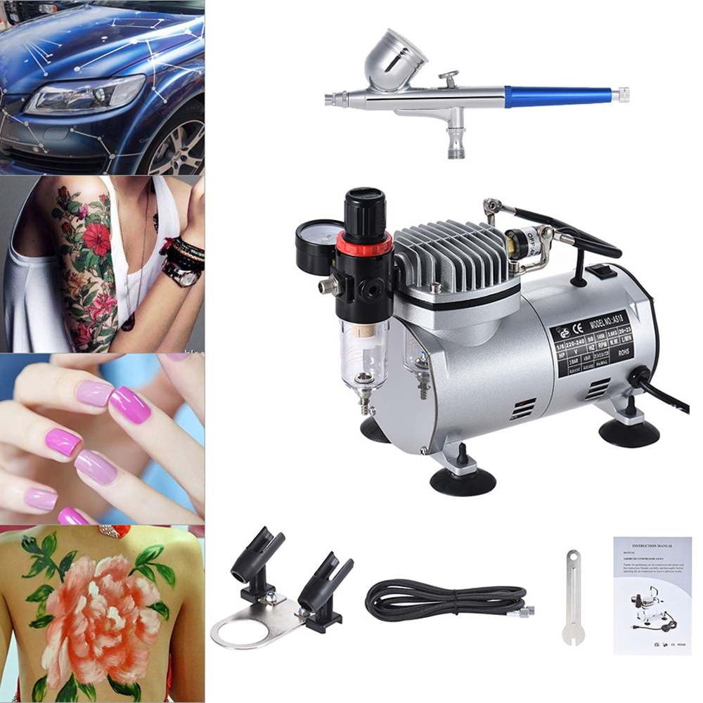 Nasedal NT-06 Airbrush Compressor Kit Dual-action Gravity Feed Airbrush 0.3mm Nozzle for Model Tattoo Makeup Cake Body Art abest new portable airbrush compressor kit dual action airbrush makeup tattoo 5 speed with filter ac05p30f