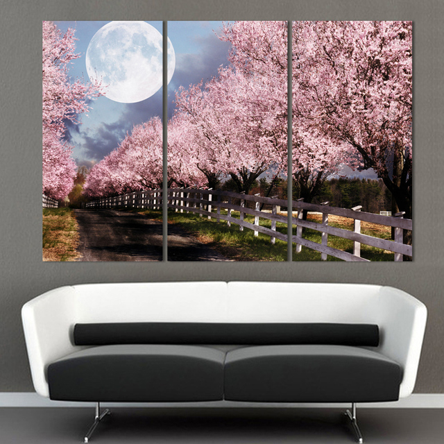 Unframed 3 Piece Home Decor Canvas Art Cherry Blossom Printed Oil Painting  For Living Room Free