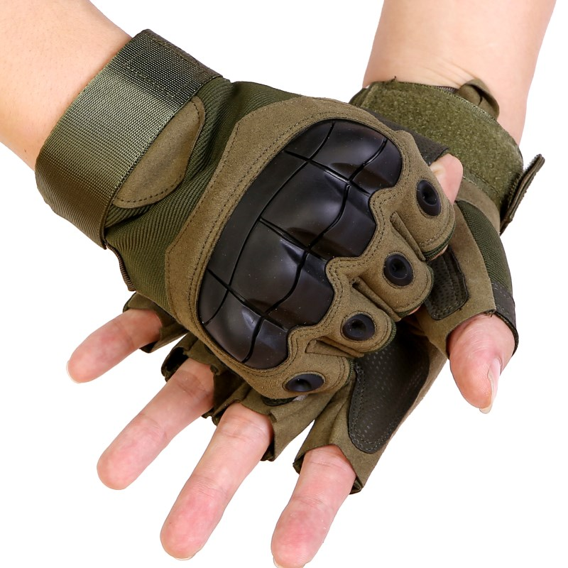 Mens Leather Non-slip Riding Driving Motorcycle Biker Gloves Half Finger Mittens