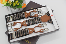 Free shipping 2015 New fashion vintage suspenders leather Adjustable 6 clip Mens clothing recessionista