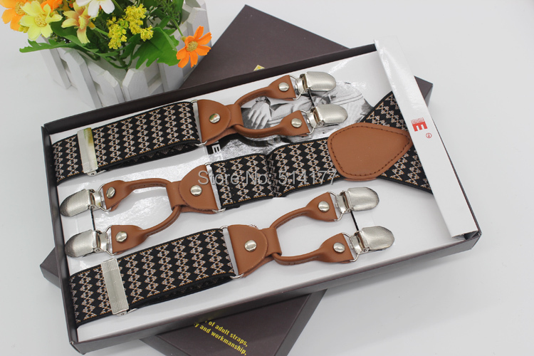 New Fashion vintage strong braces leather suspenders Adjustable 6 clip Mens suspenders clothing recessionista