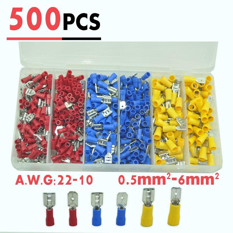 500pcs Vinyl Female Male Quick Disconnect Wire Terminals Red Blue ...