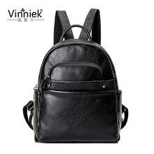 Vinniek путешествия рюкзак женщины кожаный рюкзак ноутбук рюкзак винтаж 2017 школьная сумка для девочек-подростков заклепки Bagpack rugzak PU