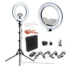 Fosoto Камера фото/Studio/телефон/видео RL-18 «55 Вт 240 кольцо света 5500 К фотографии Затемнения кольцо светильник с зеркалом/штатив