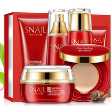 New Snail Tender Skin makeup set,Fashion Gift box cosmetic kit,Moist Concealer BB Cream,Liquid Fundation Cream,Air Cushion Cream bioaqua snail replenishment tender and moist and perfectly clear gift box with smooth skin rejuvenation facial skin care kit